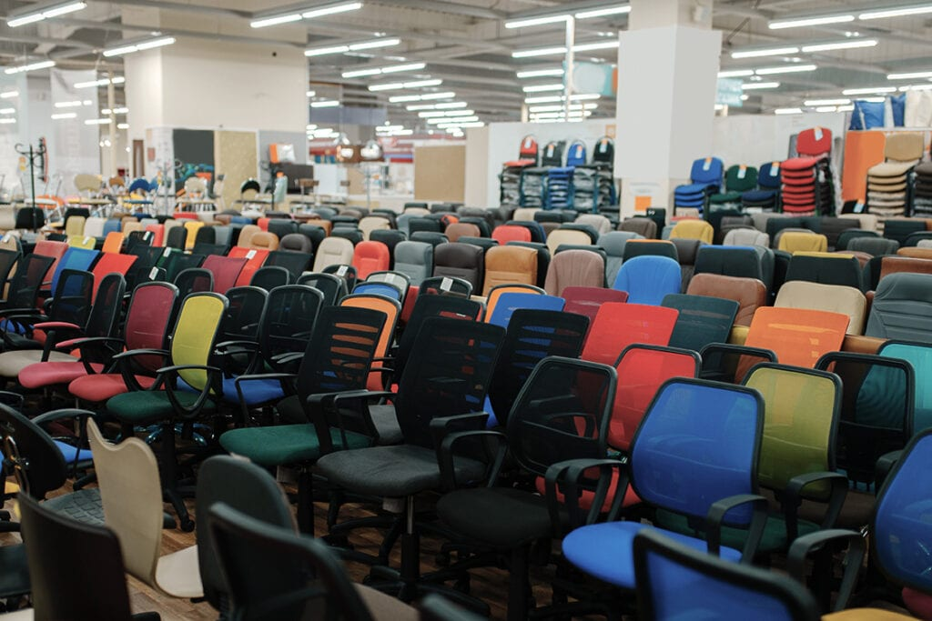 rows and rows of surplus chairs