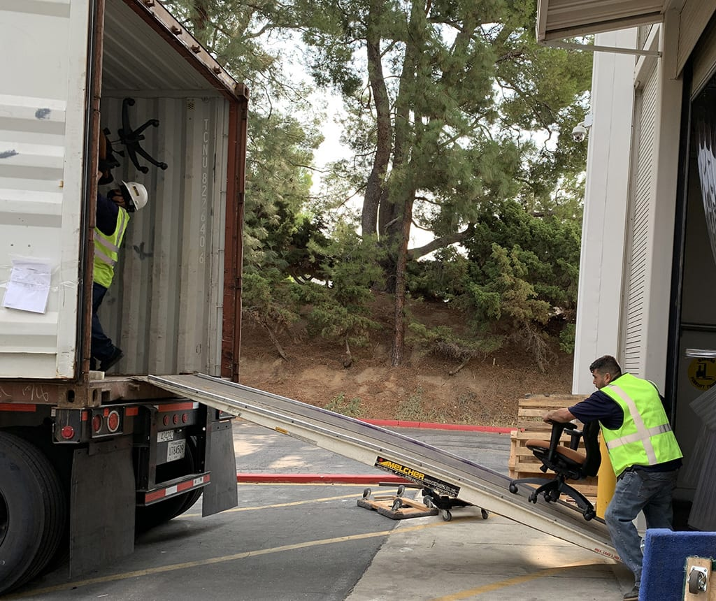 loading a truck with furniture