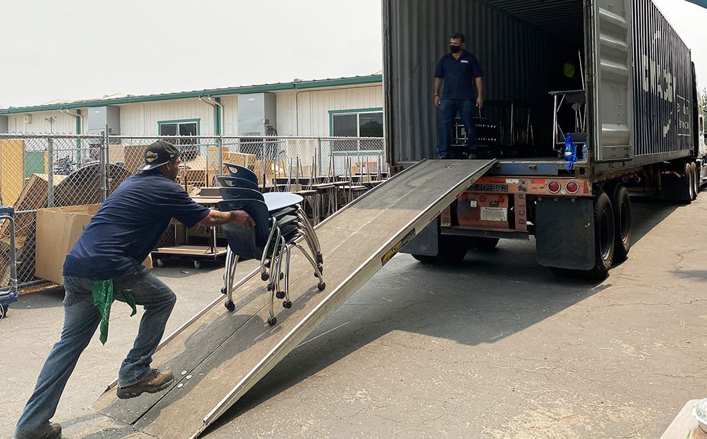 loading container with furniture