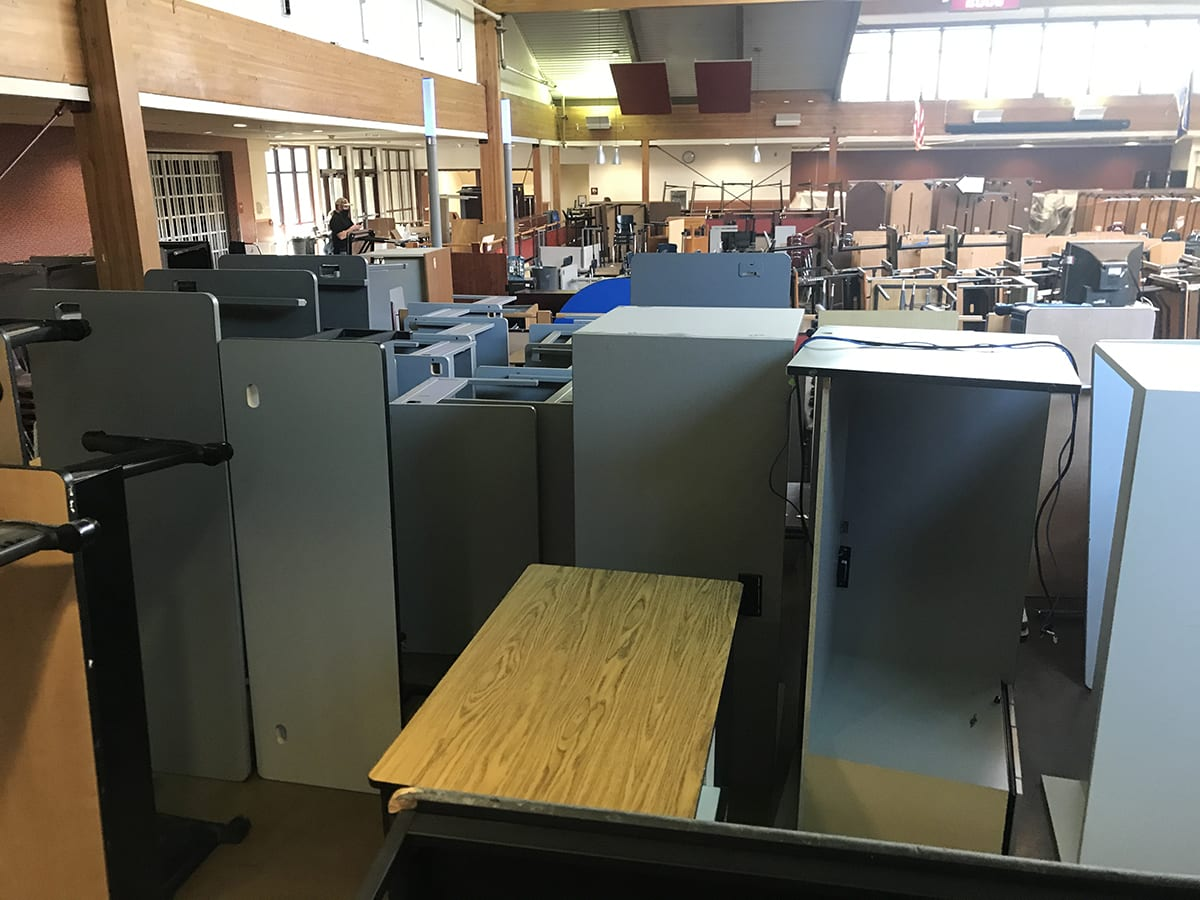 school furniture staged in cafeteria