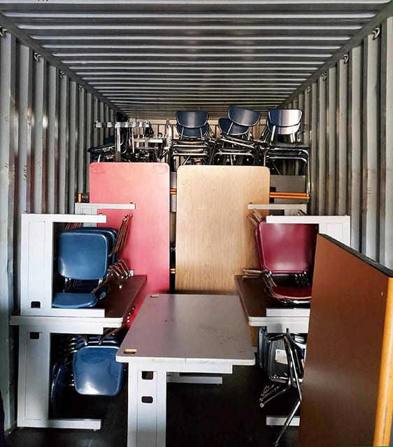 furniture loaded in container