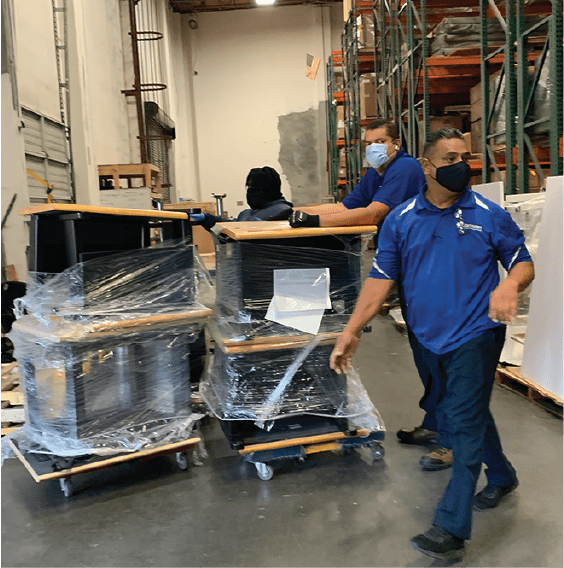 pushing tables in warehouse